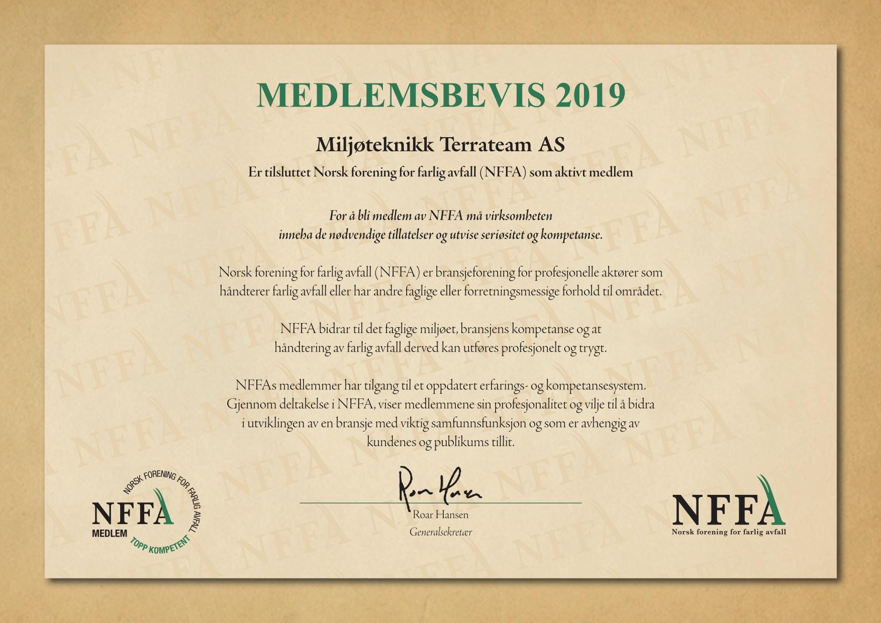 NFFA medlemsbevis 2019